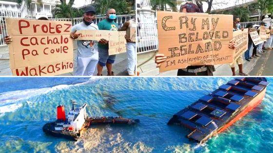 Wakashio : Manifestation contre le sabordage de la partie avant du navire