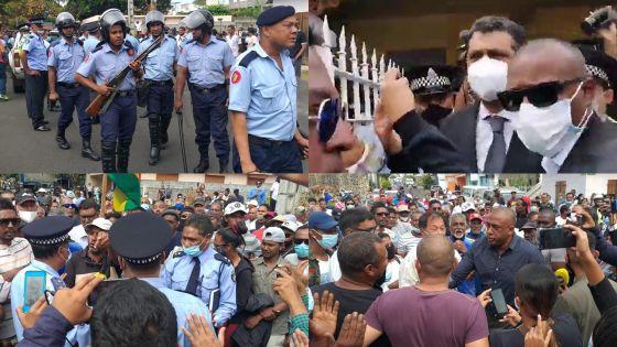 Private Prosecution de Bruneau Laurette : une foule en colère s'en prend aux ministres Ramano et Maudhoo, forte mobilisation policière