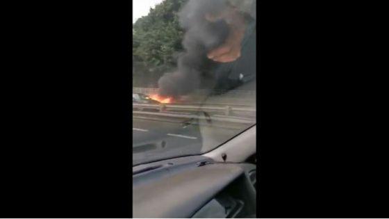 Montagne-Ory : une voiture prend feu et provoque un gros ralentissement