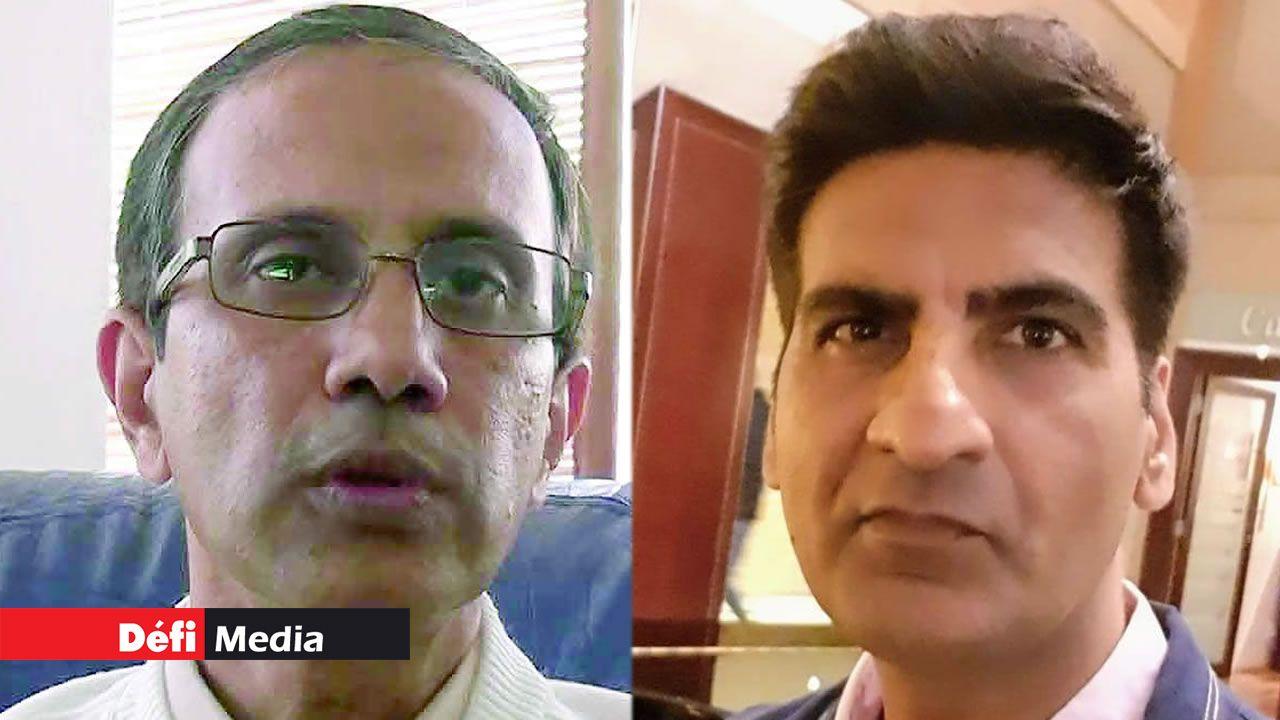 Le Dr Fazil Khodabocus et le Dr Rajiv Kumar.